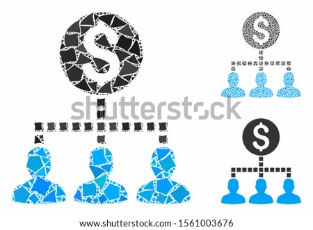 Money recipients composition of trembly elements in different sizes and color tints, based on money recipients icon. Vector ragged elements are organized into illustration.