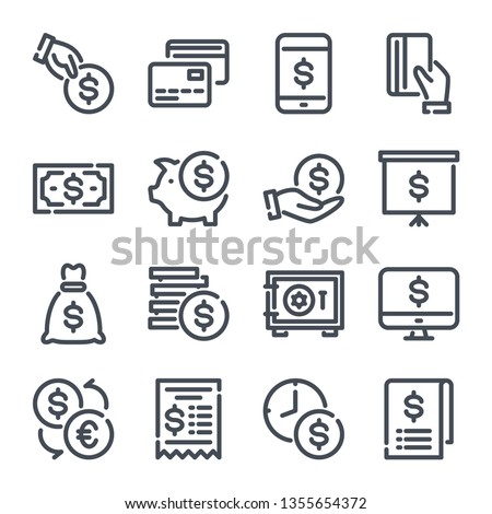 Money related line icon set. Payment and finance outline collection. Cash and dollar vector linear icons.