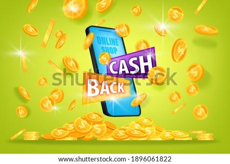 Money saving, cash back offer vector banner with coin pile, smartphone on green background. Bonus online shopping reward background, finance concept with flying gold. Cash back program 3D illustration