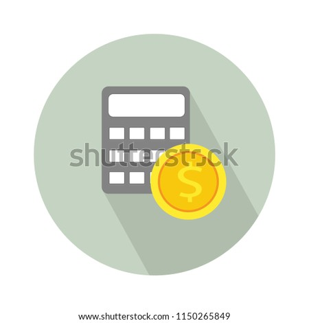 Money saving concept. Vector illustration in flat style design. bank calculator and dollar coin. Finance symbols and icons