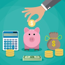 Money saving concept. Vector illustration in flat style design. Piggy bank, calculator and hand with coin. Finance symbols and icons.