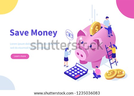 Money saving concept with characters. Can use for web banner, infographics, hero images. Flat isometric vector illustration isolated on white background.