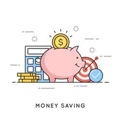 Money saving, deposit investment, budget management, economy. Flat line art style concept. Vector banner, icon, illustration. Editable stroke.