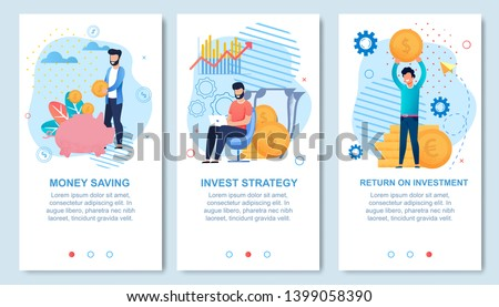 Money Saving, Invest Strategy, Return on Investment Social Media Set for Network Stories with Editable Text Advert. Men Hold Gold Coins, Put Cash in Piggy Bank, Work on Laptop. Vector Illustration