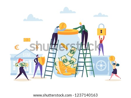 Money Savings Concept. Business People Characters Investing Money on Bank Account. Moneybox, Safe Deposit, Banking. Vector illustration