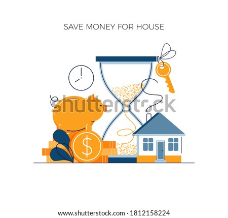 Money savings concept, invest money for private house buying. Toss gold coins in piggy bank. Future financial planning investment. Cash savings and save money vector illustration in modern flat style Foto stock ©