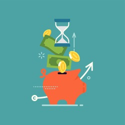 Money savings flat vector concept design with abstract piggy bank, cash money, coins and hourglass