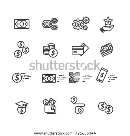 Money set icons, Vector