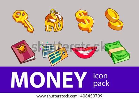 Money set of illustration icons
