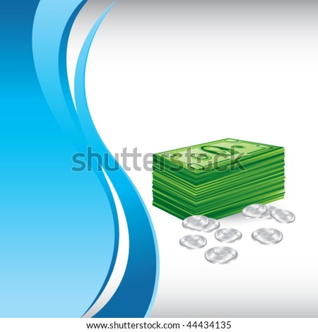 money stack and coins blue vertical wave background