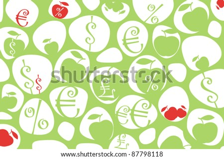 Money symbols and apples background