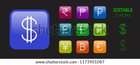 Money symbols. Money cash, banking and finance buttons. 3d icon set. Glossy colorful website icons. Editable stroke. Vector illustration.  #1173901087