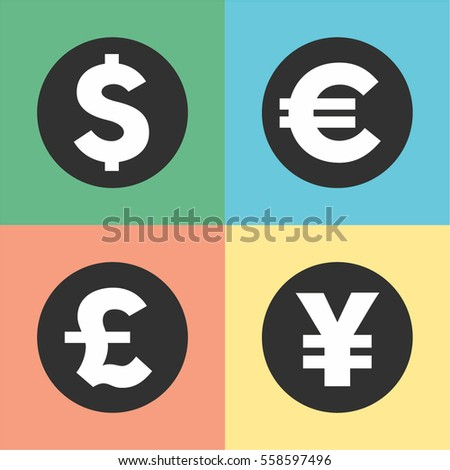 Money symbols vector illustration Currency symbols and money coins. Dollar, euro, yen and pound