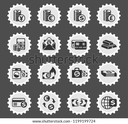 money symbols web icons stylized postage stamp for user interface design
