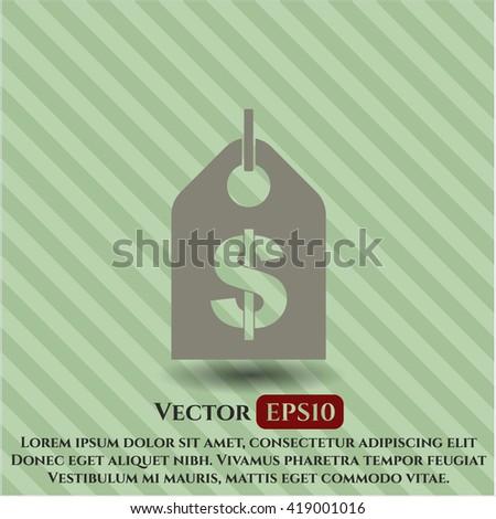 money tag icon vector symbol flat eps jpg app web concept