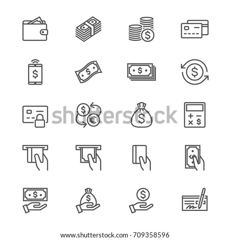 Money thin icons #709358596