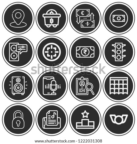 Money, traffic lights, exchange, resume, mining, podium, placeholder, padlock, roof, target, badge icon set suitable for info graphics, websites and print media and interfaces