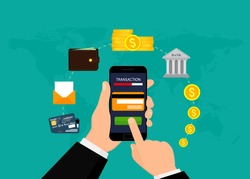 Money transaction, business, mobile banking and mobile payment. Vector illustration. Flat design. EPS10.