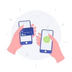 Money transaction online concept. Mobile payments using smartphone. Hand holding a mobile phone and credit card transfer on screen. Trendy flat style. Vector illustration.