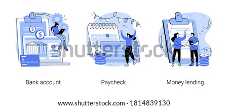 Money transfer abstract concept vector illustration set. Bank account, paycheck, money lending, online banking, savings deposit, payroll, bank credit card details, abstract metaphor.