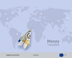 Money transfer around the world. 200 Euro paper plane. Flat style vector illustration.