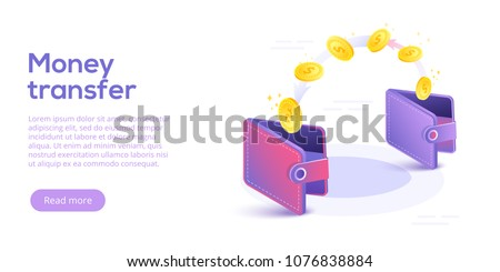 Money transfer from and to wallet in isometric vector design. Capital flow, earning or making money. Financial savings or economy concept.
