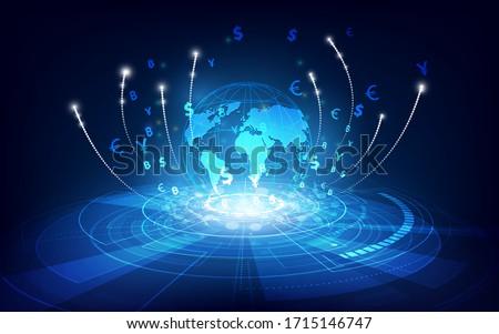 Money transfer. Global Currency. Stock Exchange. Stock vector illustration. Photo stock ©