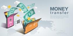 Money transfer on mobile phone, vector design. Capital flow, earning or making money. Financial savings, World background