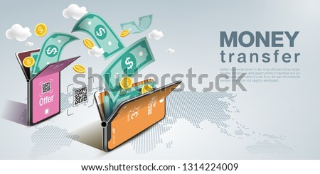 Money transfer on mobile phone, vector design. Capital flow, earning or making money. Financial savings, World background