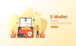 Money transfer to e-wallet concept, financial savings and online payment Suitable for web landing page, ui, mobile app, banner template. Vector Illustration