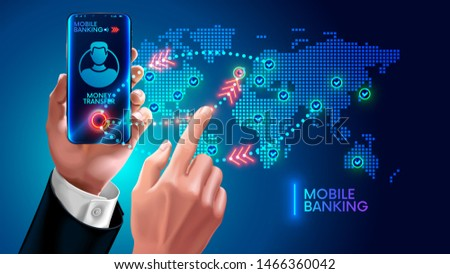 Money transfer via mobile banking on app phone. Hand businessman swipes on screen smartphone and makes financial transactions in all world. Internet bank and immediate payment or remittance concept.
