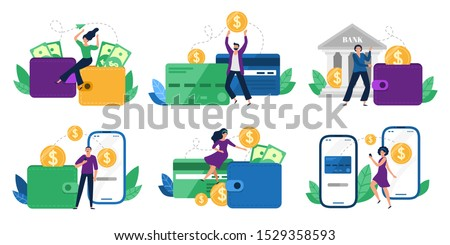 Money transfers. People sent money from wallet to bank card, mobile payments and financial transactions. Work transfer credit card process payment. Flat isolated vector illustration icons set