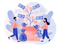Money tree as metaphor for deposit. Tiny people longterm money saving and invest finance. Business investment profit. Bank account and security, banking. Modern flat cartoon style. Vector illustration