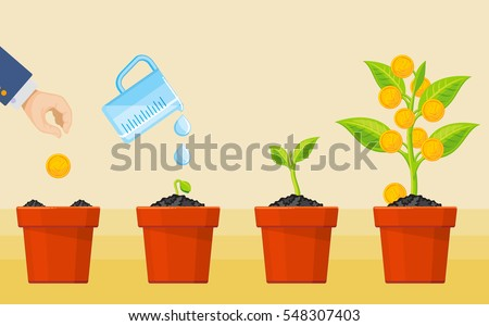 Money tree growing. Business economic investment vector concept