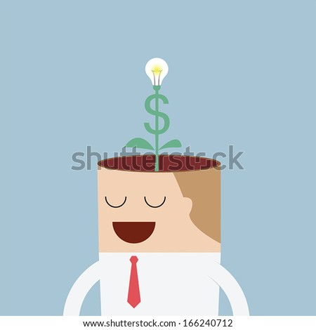 Money tree growing from businessman head, VECTOR, EPS10