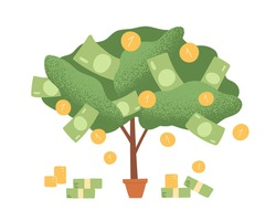 Money tree in pot with cash on branches. Plant with falling coins and banknotes. Concept of abundance, prosperity and richness. Colored flat cartoon vector illustration isolated on white background