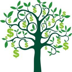 money tree isolated on White background. Vector illustration