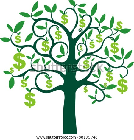money tree isolated on White background. Vector illustration - stock vector