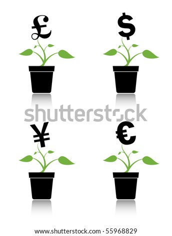 Money tree or investment growth concept. Various currency symbols growing on pot plants.