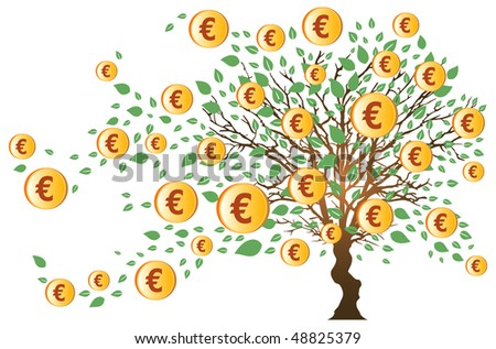 Money Tree with Euros and Green Leaves