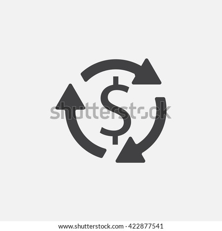 Money turnover icon vector, solid logo illustration, pictogram isolated on white