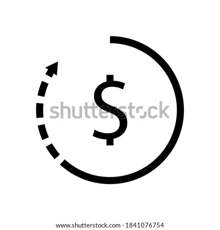 Money Turnover or revenue icon. vector template. Dollar sign & Return Arrow. Element of banking and finance icon for mobile concept and web apps. Glyph style money turnover icon. Foto stock ©