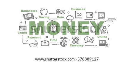 money vector banner design concept, flat style with thin line art icons on white background