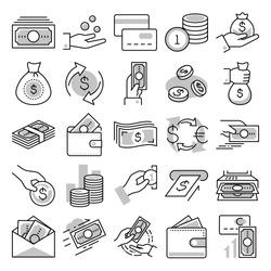 money vector line icon set