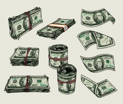 Money vintage colorful composition with falling american cash bills rolls and stacks of dollar banknotes isolated vector illustration