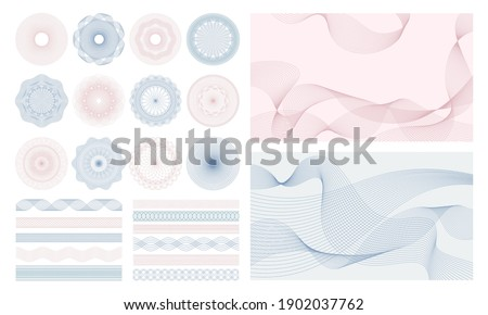 Money watermark. Geometric round, spiral and secure guilloches for passport or cheque. Spirograph patterns and borders vector set. Illustration certificate pattern watermark, decorative guilloche