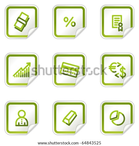 Money web icons, green stickers series