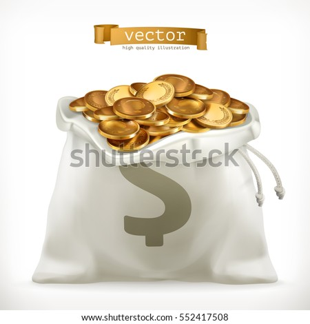 Moneybag and gold coins. Money 3d vector icon