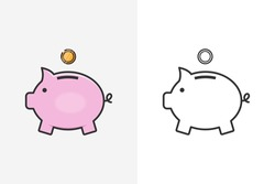 Moneybox line style icon and logo