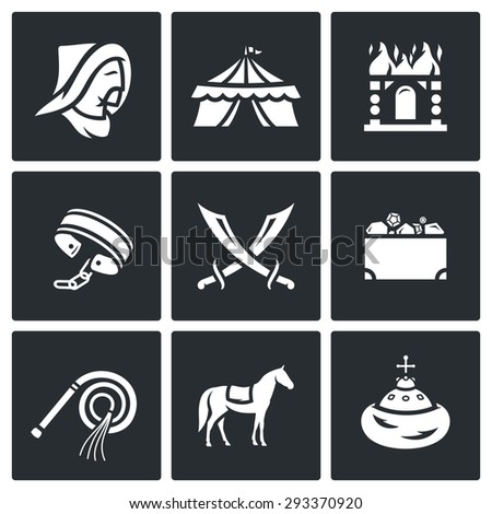 mongol tatar yoke icons set